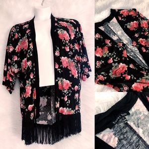 Sweet Rain XL Open Front Rose Kimono Cardigan